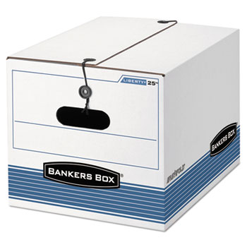 Bankers Box® STOR/FILE Extra Strength Storage Box, Letter/Legal, White/Blue, 12/Carton