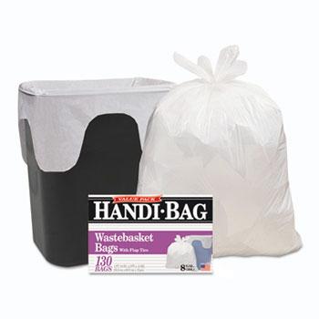 Handi-Bag Super Value Pack, 8gal, .55mil, 22 x 24, White, 130/Box