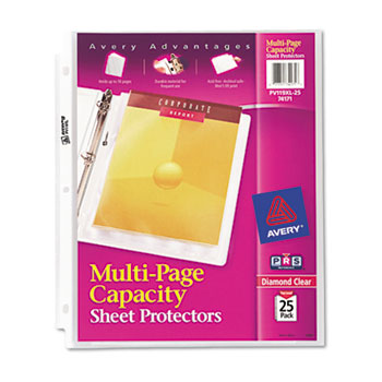 Diamond Clear Multi-Page Capacity Sheet Protectors, Acid-Free, 25/PK
