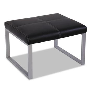 Alera Ispara Series Cube Ottoman, 26.38w x 22.63d x 17.38h, Black/Silver
