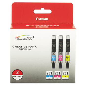 Canon® 6449B009 (CLI-251XL) ChromaLife100+ High-Yield Ink, Cyan/Magenta/Yellow, 3/PK