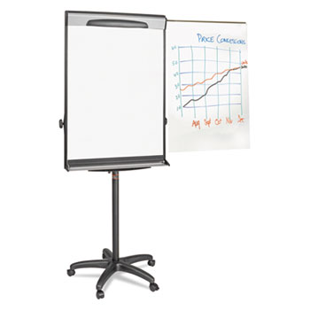 """Tripod Extension Bar Magnetic Dry-Erase Easel, 69"""" to 78"""" High, Black/Silver"""