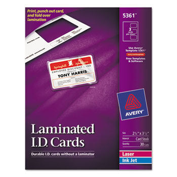 "Avery® Self-Laminating ID Cards, 2"" x 3 1/4"", 30/BX"