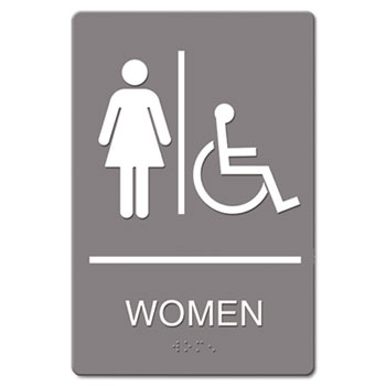 Headline® Sign ADA Sign, Women Restroom Wheelchair Accessible Symbol, Molded Plastic, 6 x 9