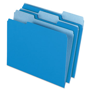 Pendaflex® Colored File Folders, 1/3 Cut Top Tab, Letter, Blue/Light Blue, 100/Box