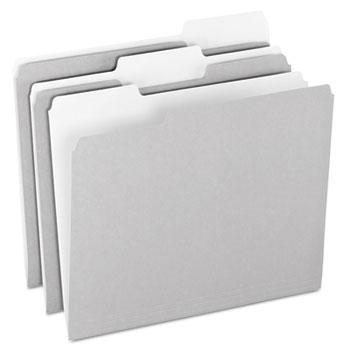 Pendaflex® Colored File Folders, 1/3 Cut Top Tab, Letter, Gray/Light Gray, 100/Box