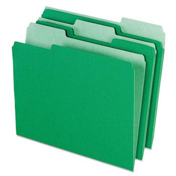 Pendaflex® Colored File Folders, 1/3 Cut Top Tab, Letter, Green/Light Green, 100/Box