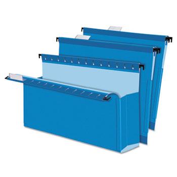 "Pendaflex® SureHook Reinforced Hanging Box Files, 3"" Expansion, Legal, Blue, 25/Box"