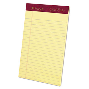 Ampad™ Gold Fibre Writing Pads, Jr. Legal Rule, 5 x 8, Canary, 50 Sheets