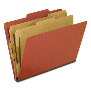 Six-Section Pressboard Folders, Letter, Red, 10/Box