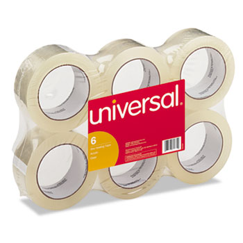 "Universal® General-Purpose Box Sealing Tape, 3"" Core, 1.88"" x 110 yds, Clear, 6/Pack"