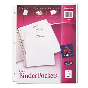 Avery® Three Ring Binder Pockets, Clear, 5/PK