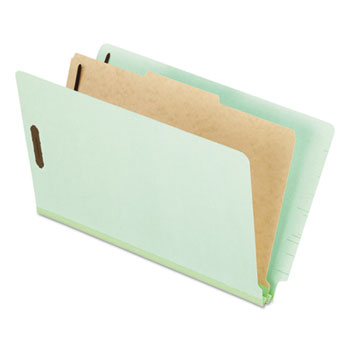 Pendaflex® Pressboard End Tab Classification Folders, Legal, 1 Divider, Pale Green, 10/Box