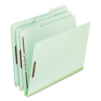 "Pendaflex® Pressboard Folders, 2 Fasteners, 1"" Expansion, 1/3 Cut, Letter, Green, 25/Box"