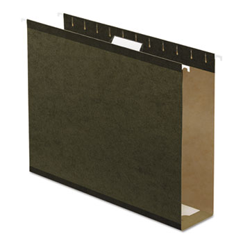"""Reinforced 3"""" Extra Capacity Hanging Folders, Letter, Standard Green, 25/Box"""