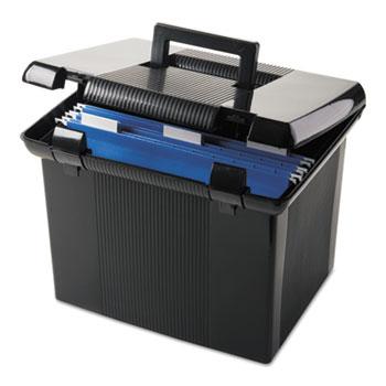 Portafile File Storage Box, Letter, Plastic, 11 x 14 x 11-1/8, Black