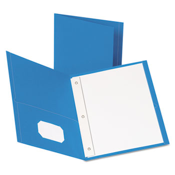 "Oxford™ Twin-Pocket Folders with 3 Fasteners, Letter, 1/2"" Capacity, Light Blue, 25/Box"