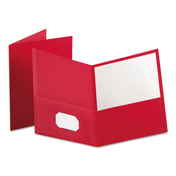 Twin-Pocket Folder, Embossed Leather Grain Paper, Red, 25/BX