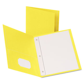 """Oxford™ Twin-Pocket Folders with 3 Fasteners, Letter, 1/2"""" Capacity, Yellow, 25/Box"""