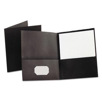 Oxford™ Twin-Pocket Folder, Embossed Leather Grain Paper, Black, 25/BX