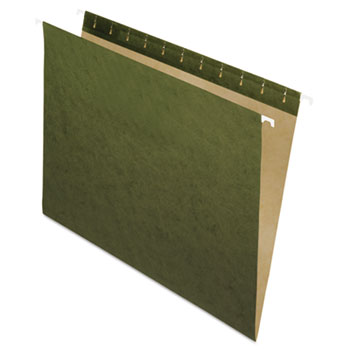 Hanging File Folders, Untabbed, Letter, Standard Green, 25/Box