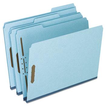 "Pendaflex® Pressboard Folders, 2 Fasteners, 1"" Expansion, 1/3 Cut, Letter, Blue, 25/Box"