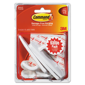 Command™ General Purpose Hooks Value Pack, Large, 5lb Cap, White, 3 Hooks & 6 Strips/Pack