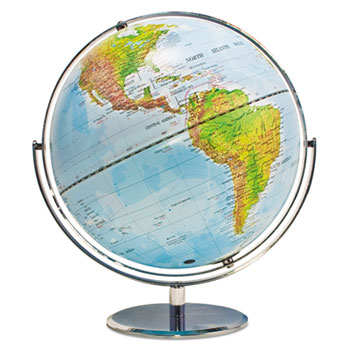 Advantus 12-Inch Globe with Blue Oceans, Silver-Toned Metal Desktop Base,Full-Meridian