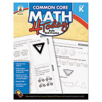 Carson-Dellosa Publishing Common Core 4 Today Workbook, Math, Kindergarten, 96 pages