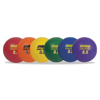 "Champion Sports Rhino Playground Ball Set, 8 1/2"" Diameter, Rubber, Assorted, 6 Balls/Set"