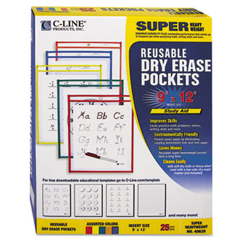Reusable Dry Erase Pockets, 9 x 12, Assorted Primary Colors, 25/Box