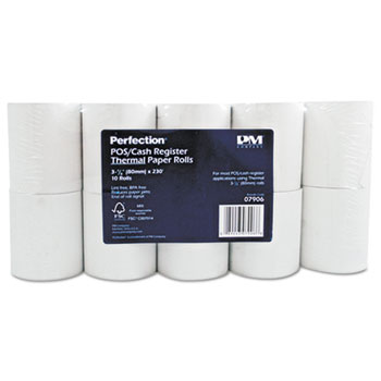 "Single Ply Thermal Cash Register/POS Rolls, 3 1/8"" x 230 ft., White, 10/Pk"