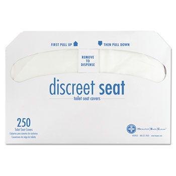 Discreet Half-Fold Toilet Seat Covers, White, 250/Pack, 20 Packs/Carton