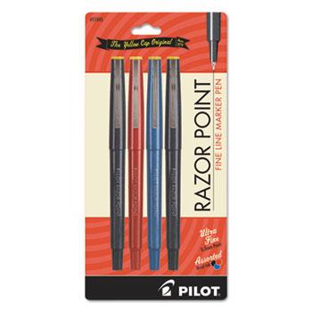 Pilot® Fineliner Marker Pen, Ultra-Fine, Black/Blue/Red, .3mm, 4/Pack