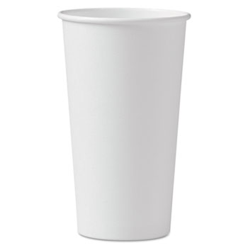Polycoated Hot Paper Cups, 20 oz, White, 600/Carton