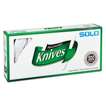 Heavyweight Plastic Cutlery, Knives, White, 7 in, 500/Carton