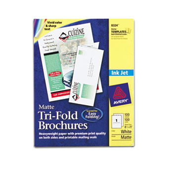 """Tri-Fold Brochures, Matte, Two-Sided Printing, 8 1/2"""" x 11"""", 100/BX"""