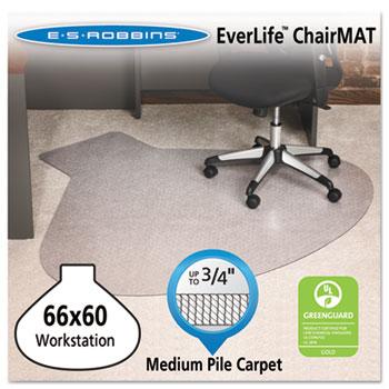 ES Robbins® EverLife Chair Mats For Medium Pile Carpet, Contour,  66 x 60, Clear