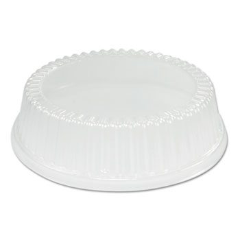 """Dome Covers for Use With 9"""" Foam Plates, Clear, Plastic, 125/Bag, 4/Bags Carton"""