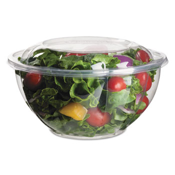 Renewable & Compostable Salad Bowls w/ Lids - 32oz., 50/PK, 3 PK/CT