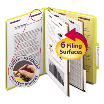 Smead® Pressboard Classification Folders, Letter, Six-Section, Yellow, 10/Box
