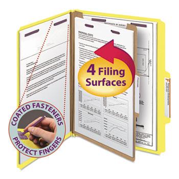 Smead® Pressboard Classification Folders, Letter, Four-Section, Yellow, 10/Box
