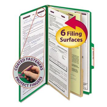 Smead® Pressboard Classification Folders, Legal, Six-Section, Green, 10/Box