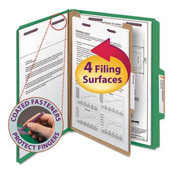 Pressboard Classification Folders, Letter, Four-Section, Green, 10/Box