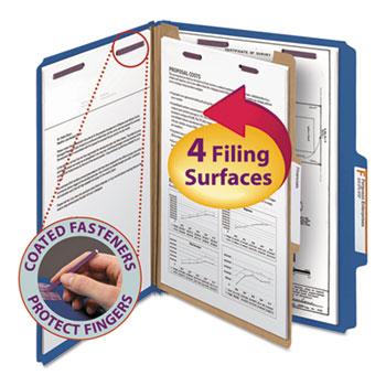 Smead® Pressboard Classification Folders, Letter, Four-Section, Dark Blue, 10/Box