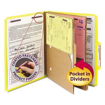 Smead® Pressboard Folders with Two Pocket Dividers, Letter, Six-Section, Yellow, 10/Box