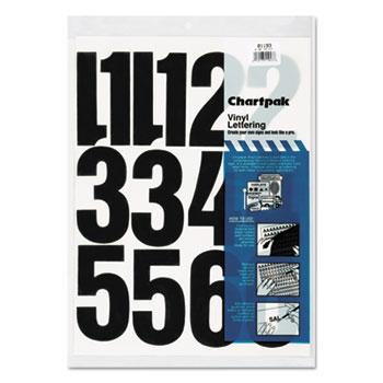 "Chartpak® Press-On Vinyl Numbers, Self Adhesive, Black, 4""h, 23/Pack"