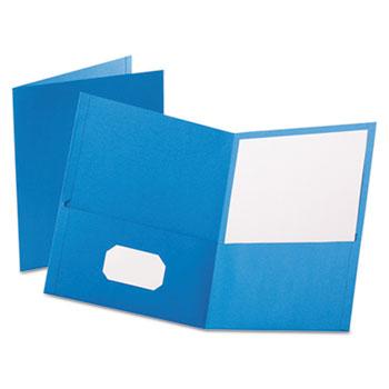 Twin-Pocket Folder, Embossed Leather Grain Paper, Light Blue, 25/Box