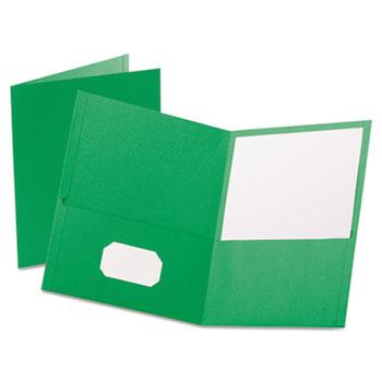Oxford™ Twin-Pocket Folder, Embossed Leather Grain Paper, Light Green, 25/BX