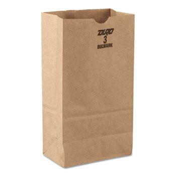 General #3 Paper Grocery Bag, 30lb Kraft, Standard 4 3/4 x 2 15/16 x 8 9/16, 500 bags